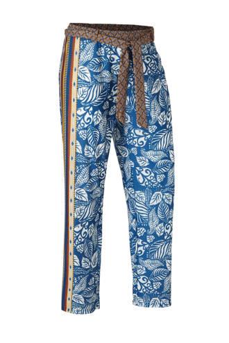 palazzo broek met all over print blauw/multikleuren