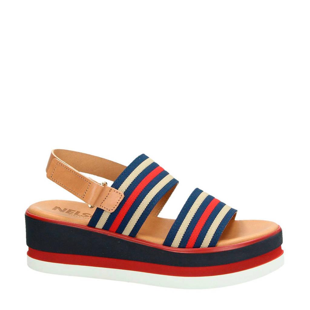 Nelson plateau sandalen rood/blauw, Blauw/Rood/Bruin