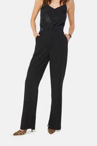 WE Fashion flared pantalon zwart, Zwart