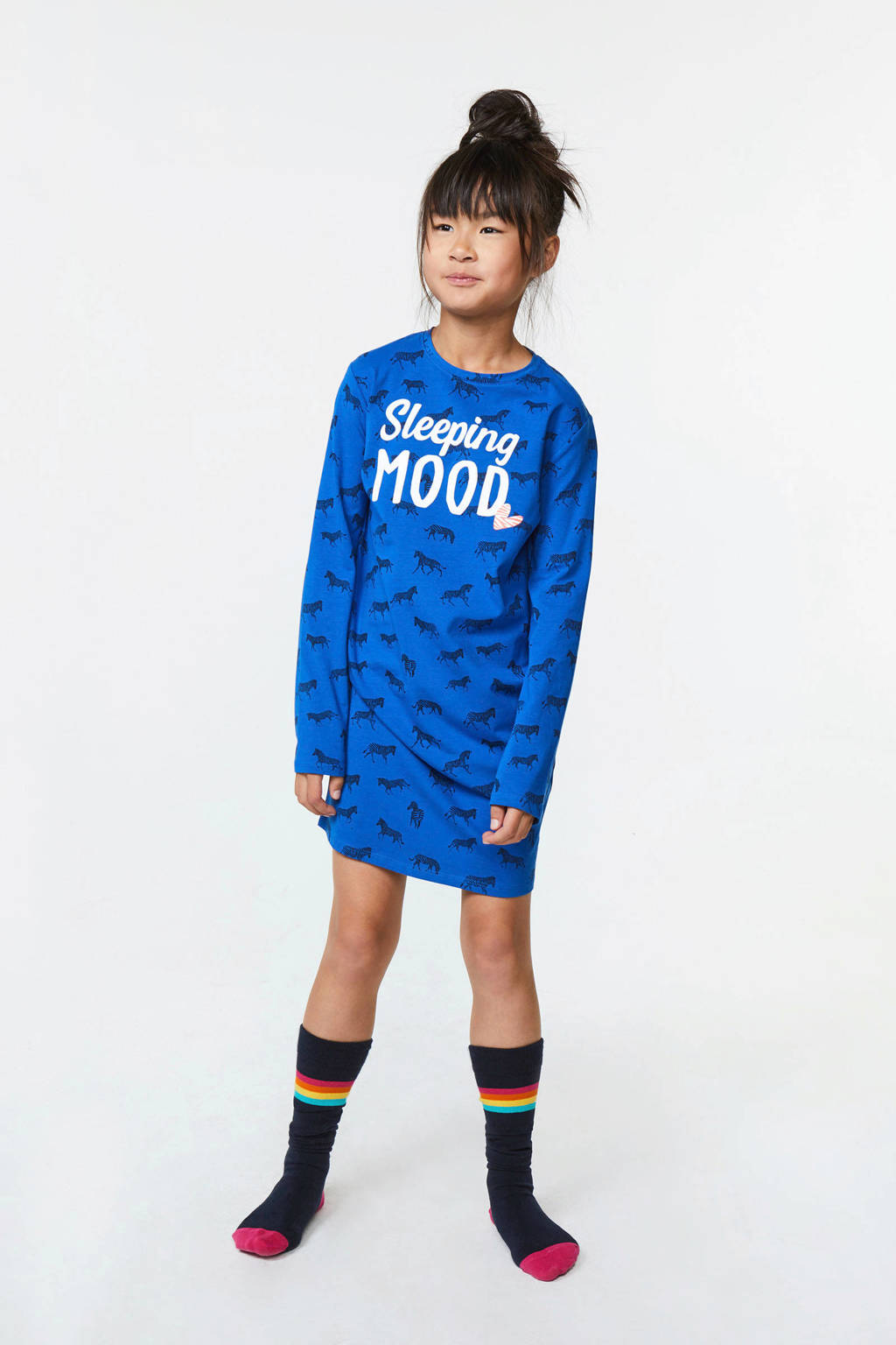 WE Fashion nachthemd met all over print en tekst blauw, Kobaltblauw