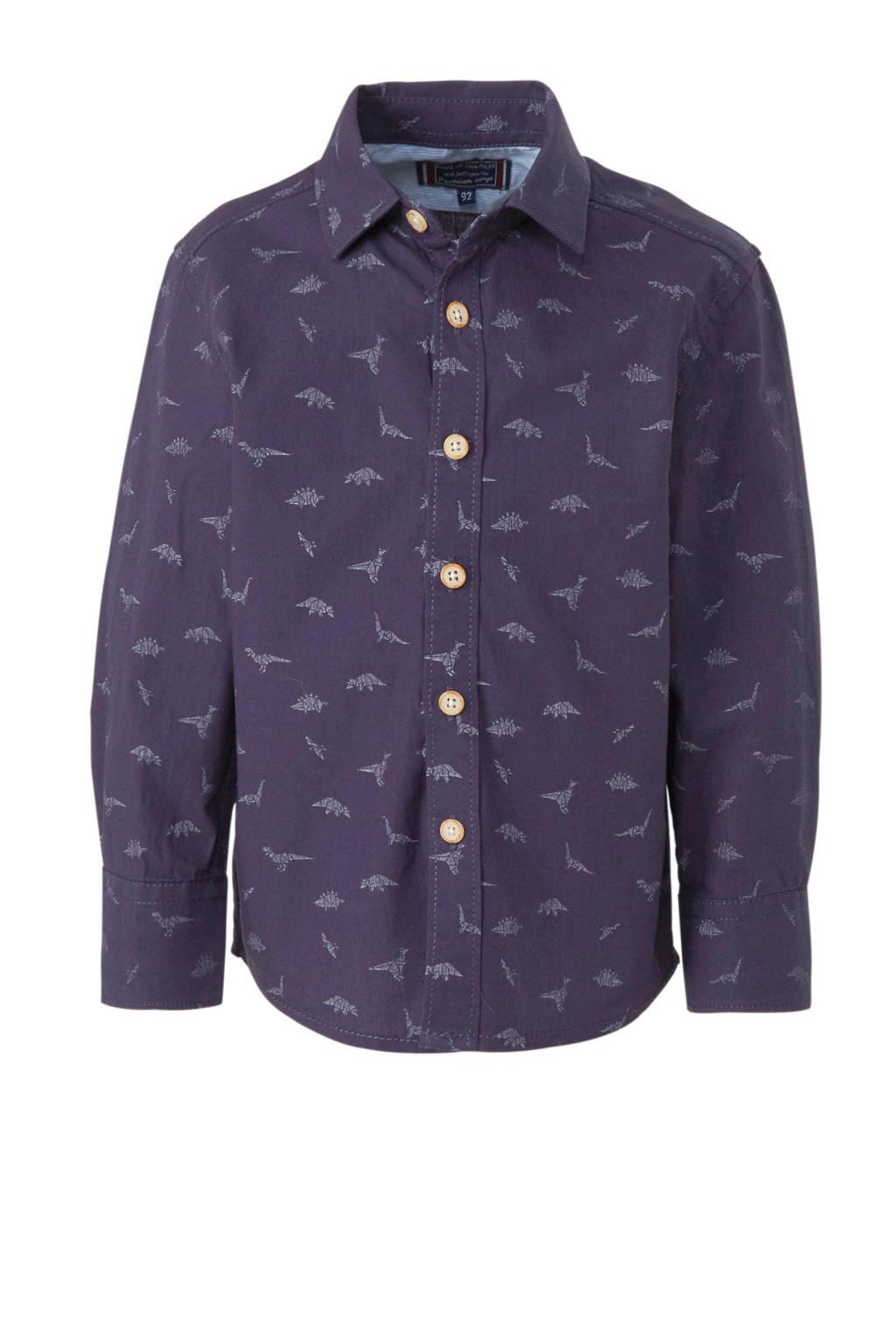 C&A Palomino overhemd met all over print blauw, Donkerblauw/wit