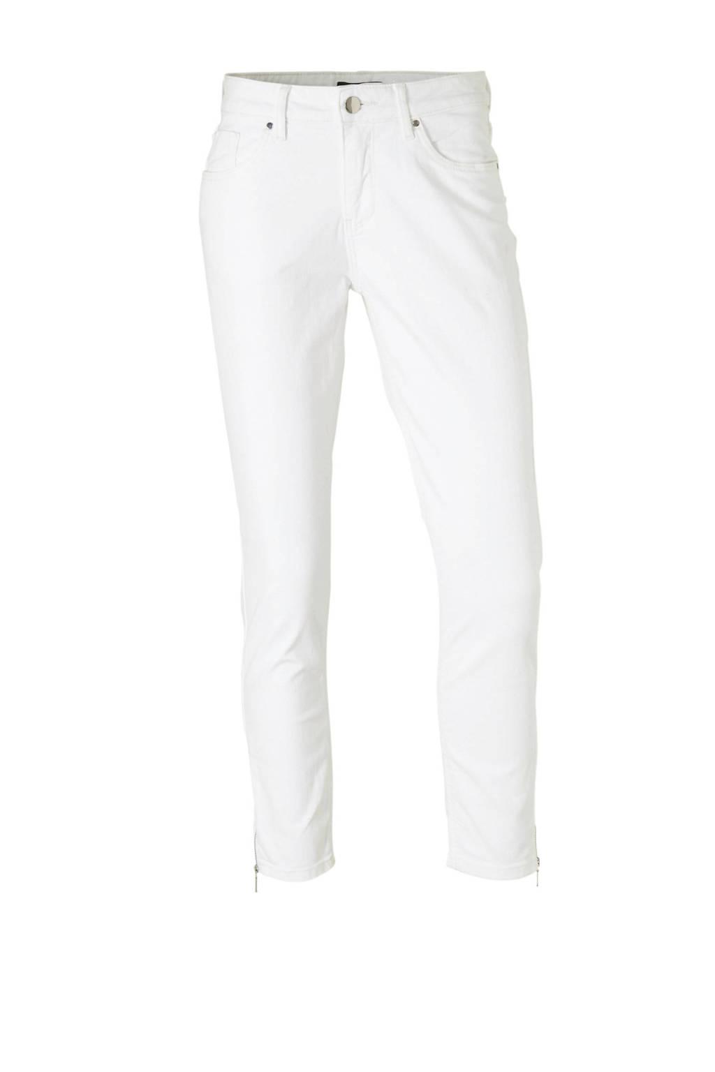 C&A cropped jeans met ritsen wit, Wit