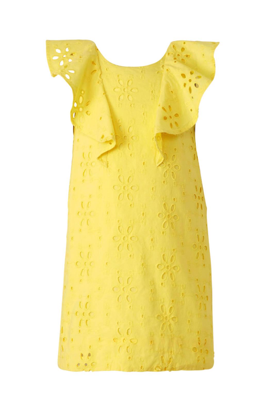 C&A Palomino jurk met broderie geel, Geel