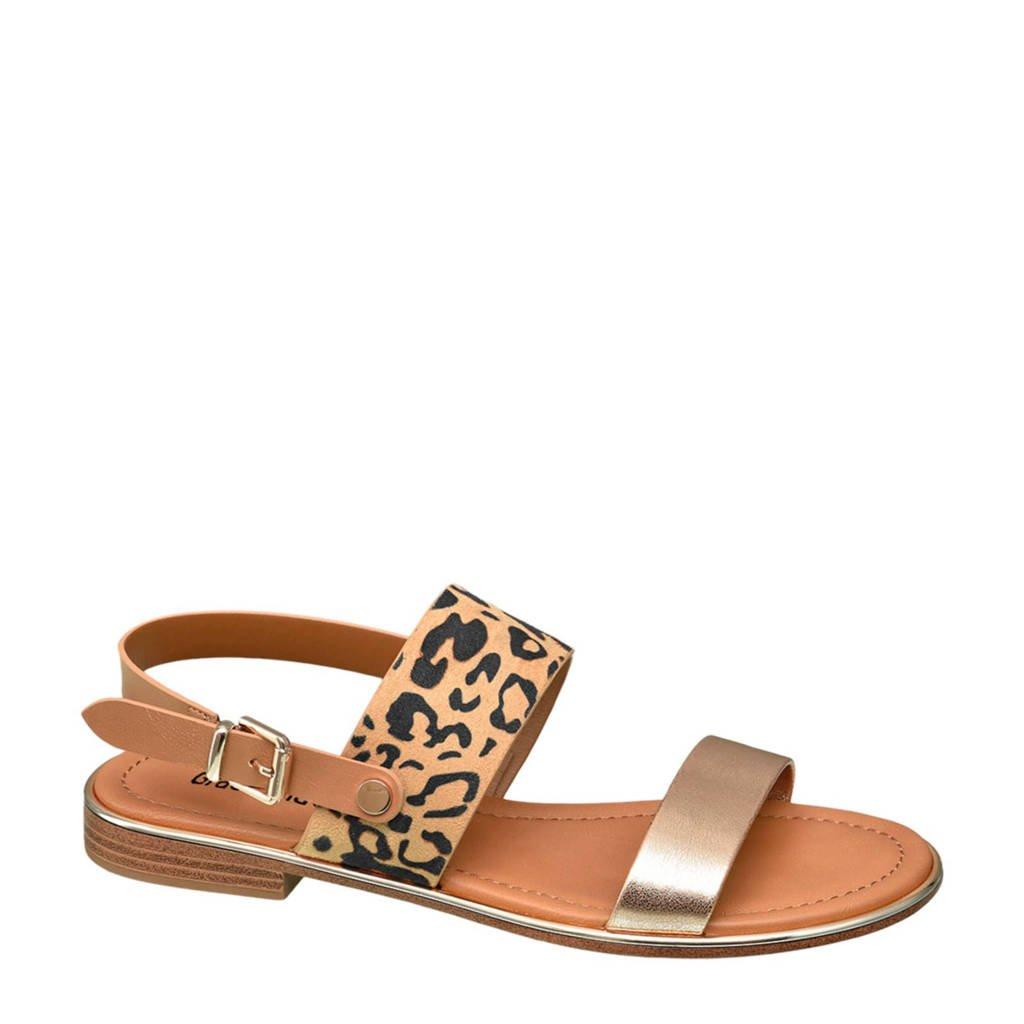Graceland   sandalen panterprint, Bruin/zwart