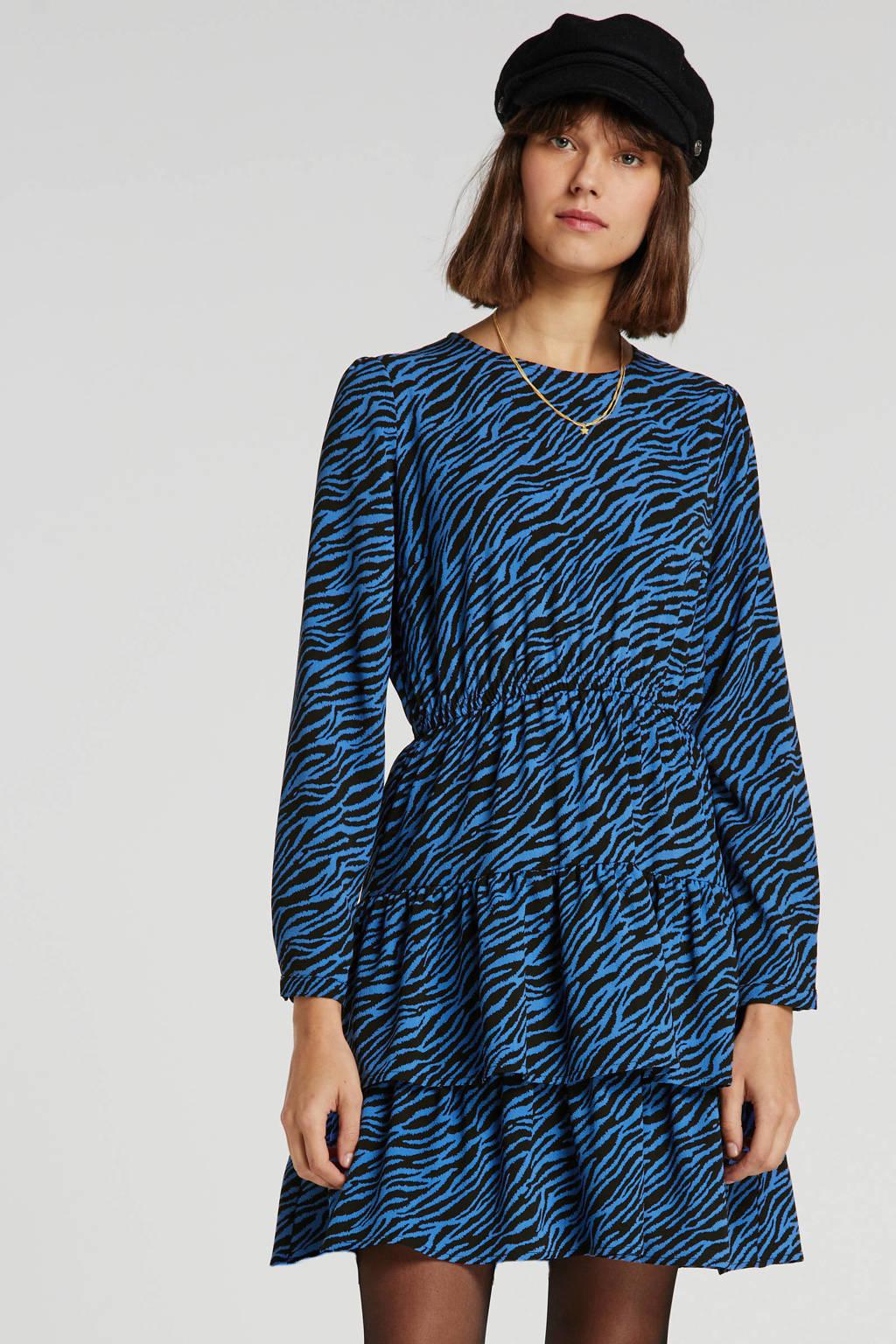 anytime jurk in zebraprint blauw/zwart, Blauw/zwart