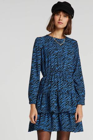 jurk in zebraprint blauw/zwart