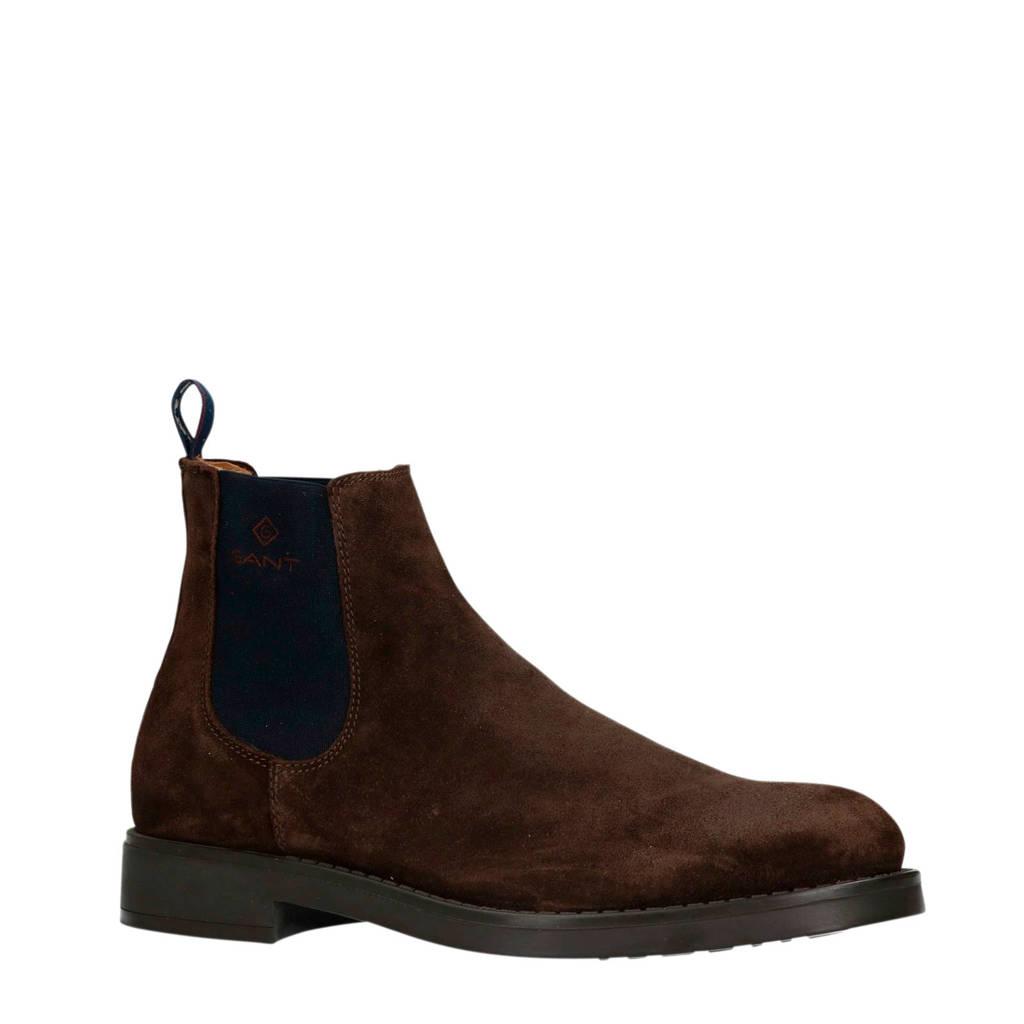 GANT   suède chelsea boots donkerbruin, Donkerbruin