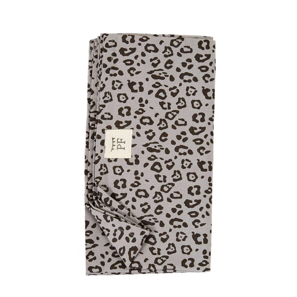 Petit Filippe linnen wieglaken grijs panter 90x110 cm, Grijs/zwart