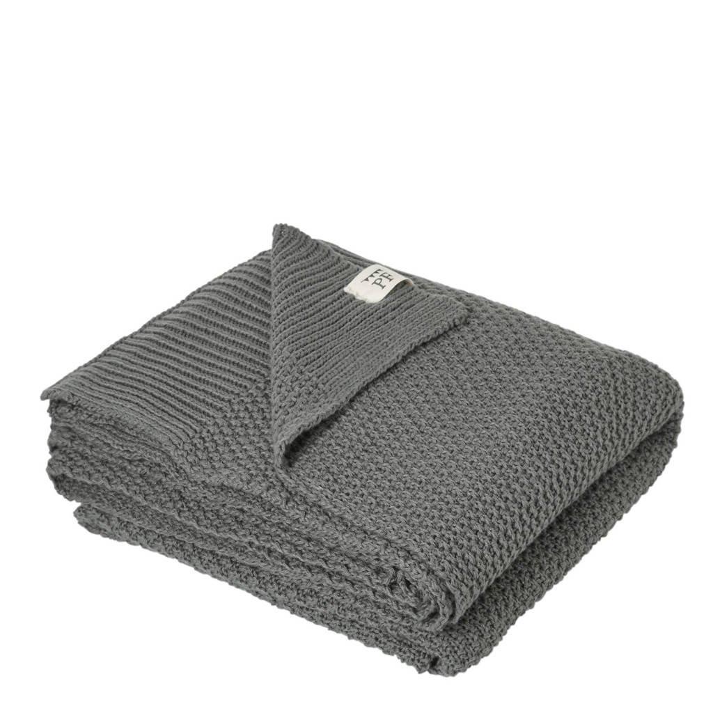 Petit Filippe gebreide baby deken grijs 130x80 cm, Grijs