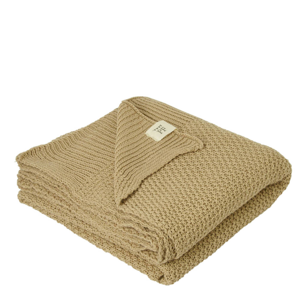 Petit Filippe gebreide baby deken donkerbeige 130x80 cm, Donkerbeige