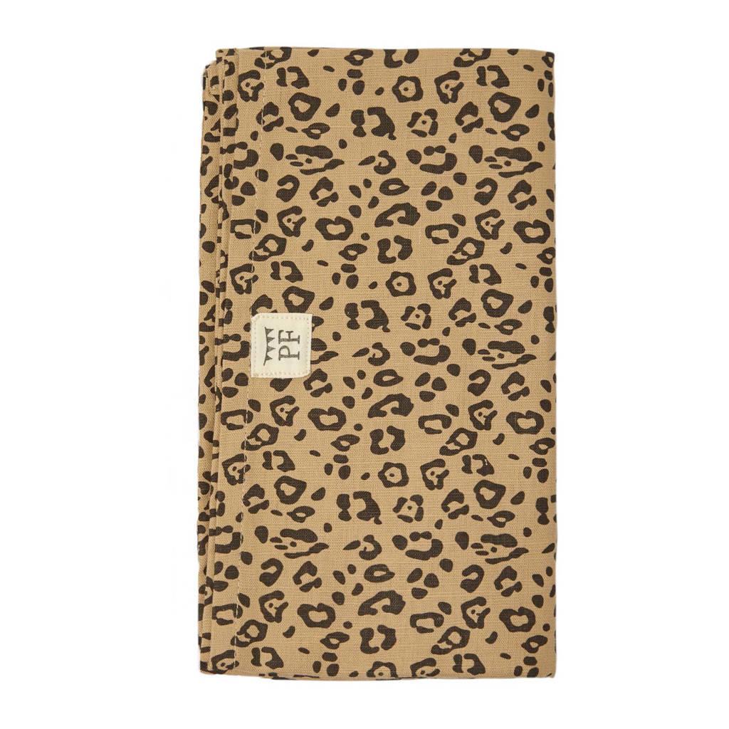 Petit Filippe linnen wieglaken bruin panter 90x110 cm, Bruin/zwart