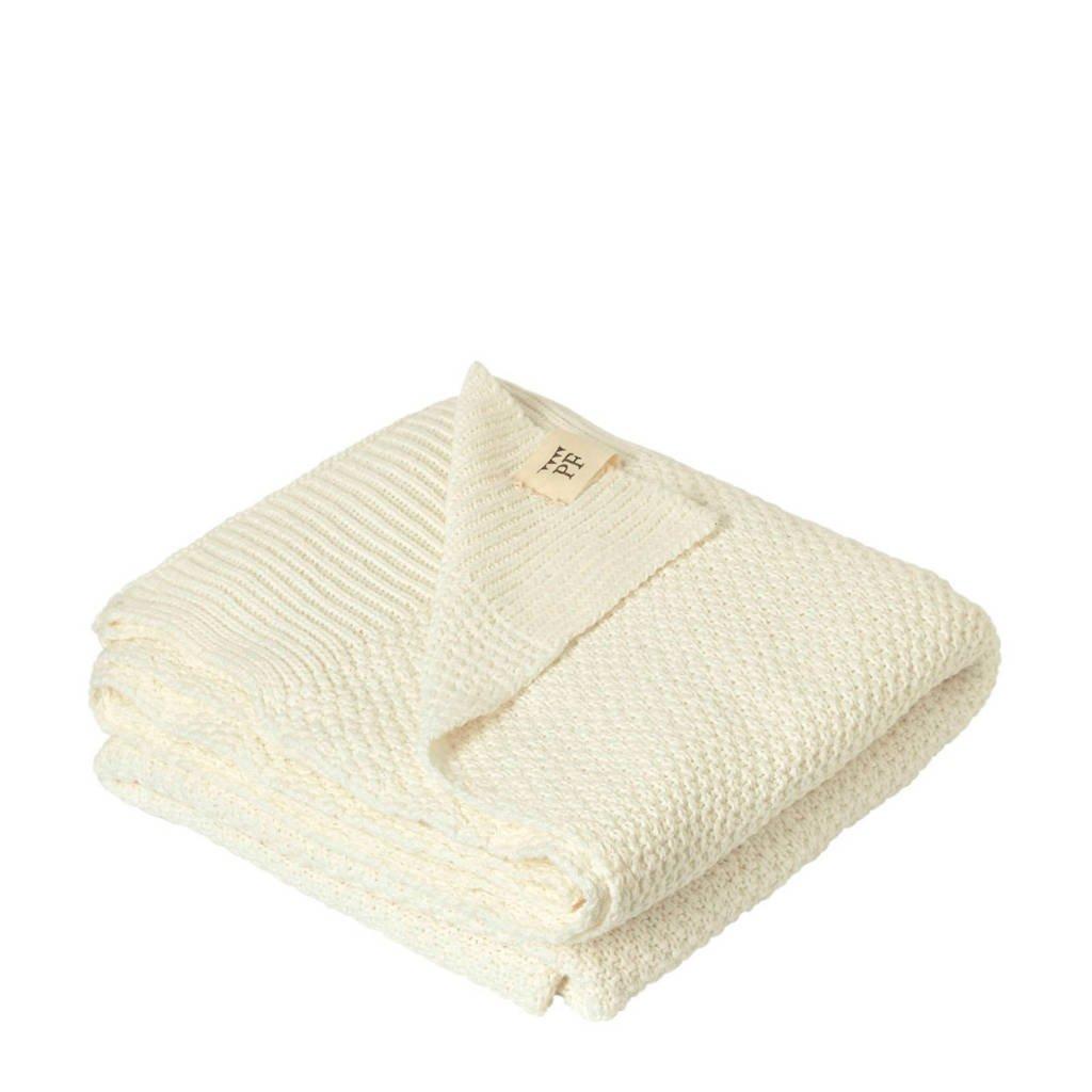 Petit Filippe gebreide baby deken naturel wit 130x80 cm