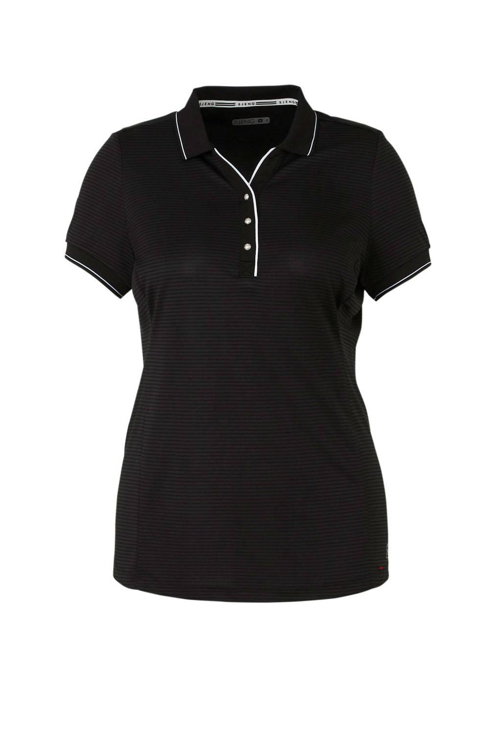 Sjeng Sports Plus polo smalle streep zwart, Antraciet/zwart