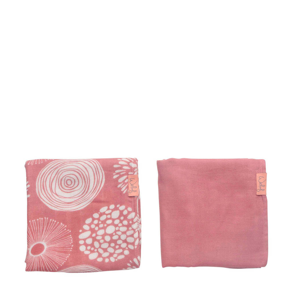 Witlof for kids hydrofiele doek 80x80 cm Sparkle roze - set van 2, Roze