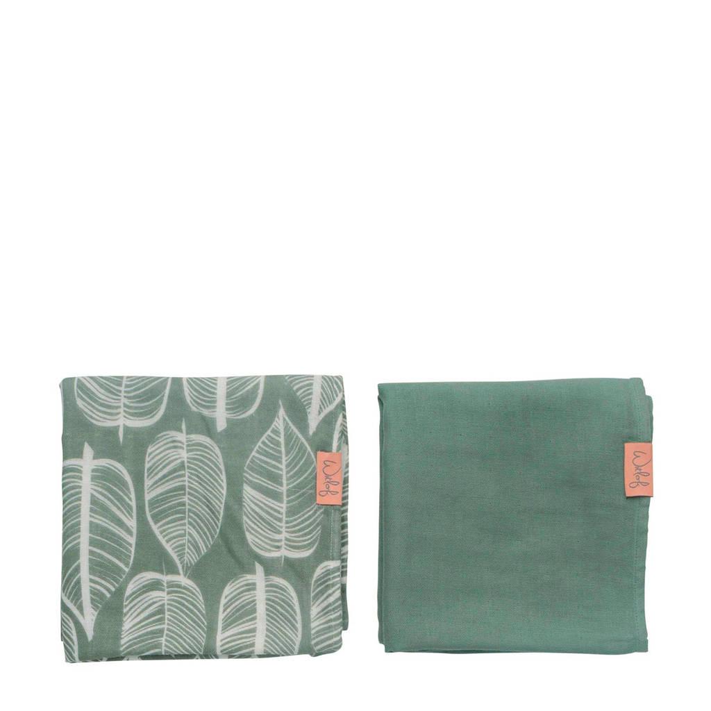 Witlof for kids hydrofiele doek 80x80 cm Beleaf sage green - set van 2, Groen