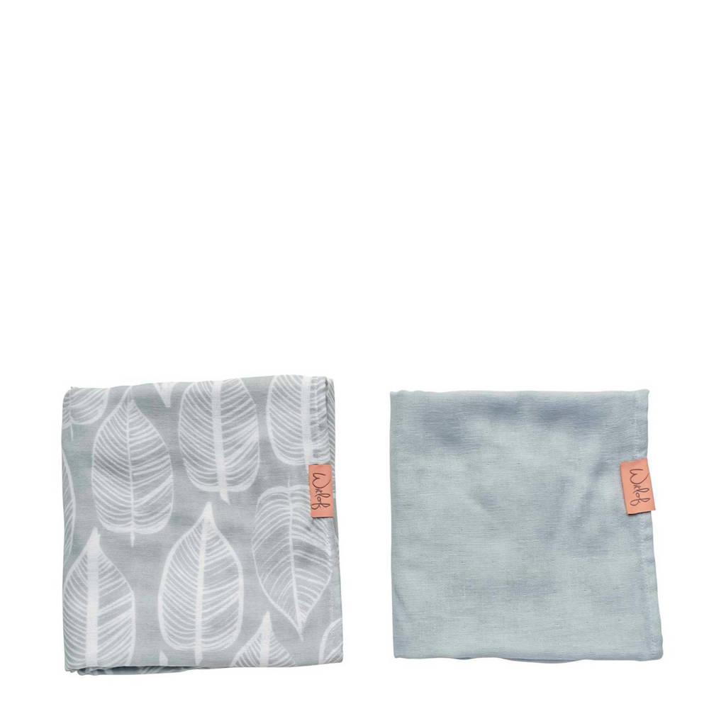 Witlof for kids hydrofiele doek 80x80 cm Beleaf warm grey - set van 2, Grijs