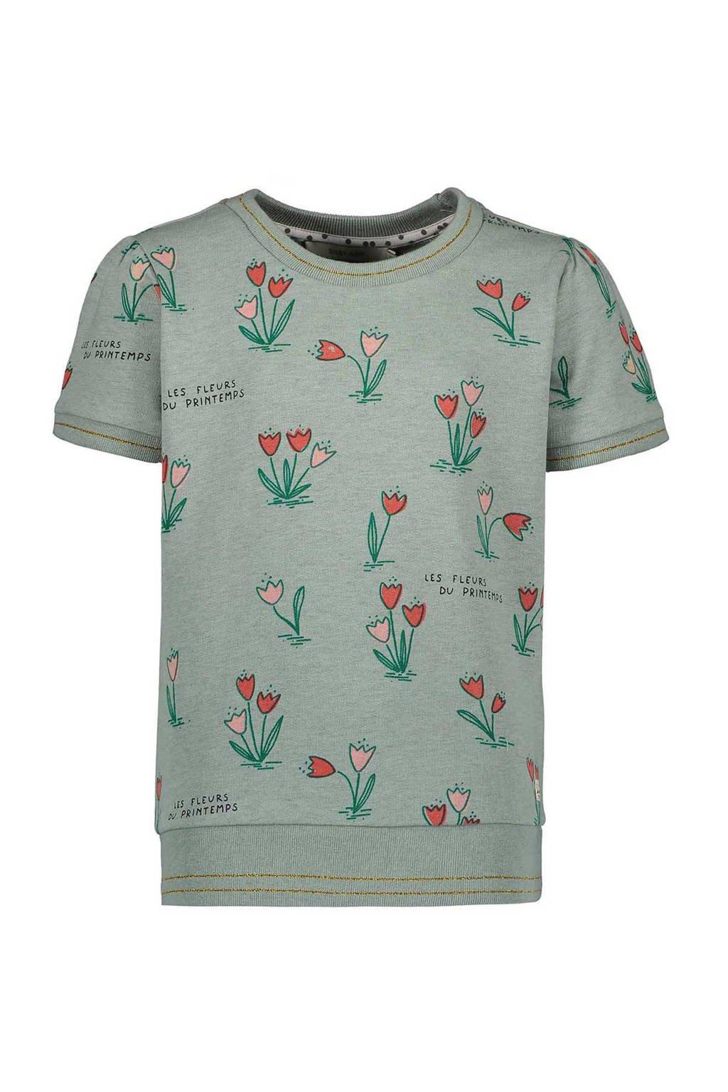 Sissy-Boy gebloemd T-shirt grijs, Grijsgroen