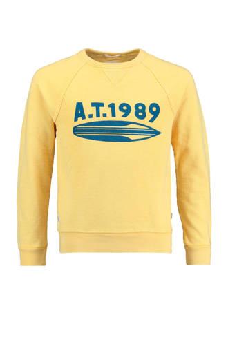 sweater Simon met tekst geel