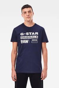 G-Star RAW T-shirt met tekstopdruk, Donkerblauw