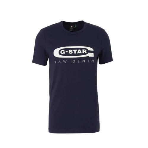 G-Star RAW T-shirt met logo donkerblauw