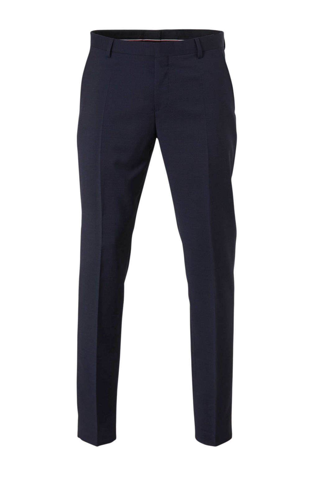 Tommy Hilfiger Tailored wollen regular fit pantalon met all over print marine, Marine