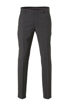 wollen regular fit pantalon grijs