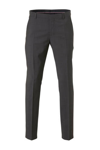 wollen regular fit pantalon grijs