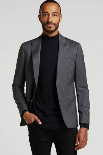 wollen slim fit colbert antraciet