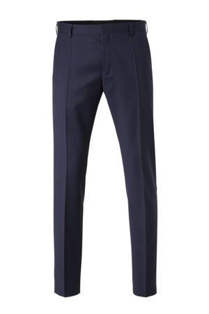 wollen slim fit pantalon donkerblauw