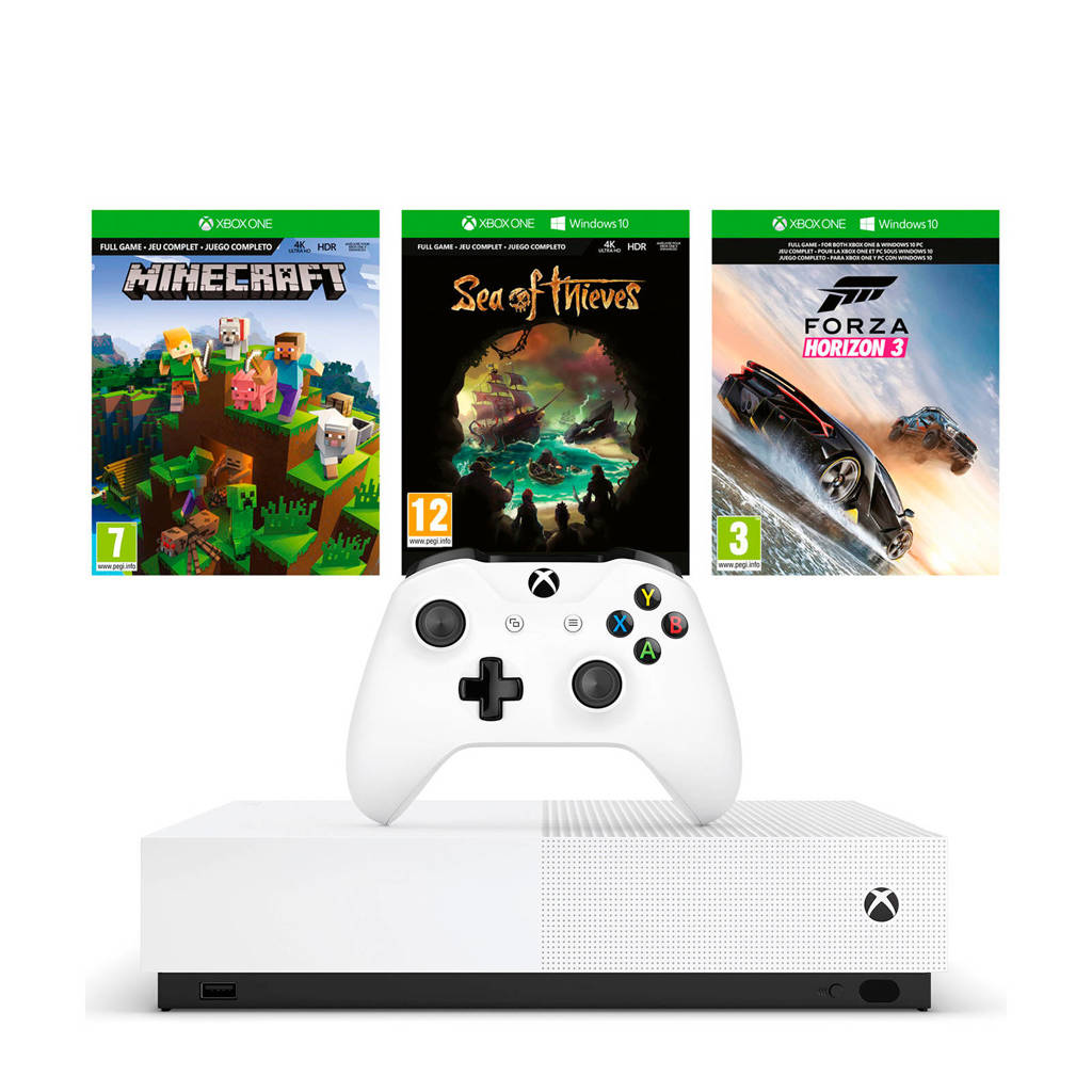 Microsoft Xbox One S All-Digital Edition console + Minecraft, Sea of Thieves en Forza Horizon 3 (downloads), Wit