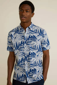 Mango Man regular fit overhemd met all over print donkerblauw, Donkerblauw