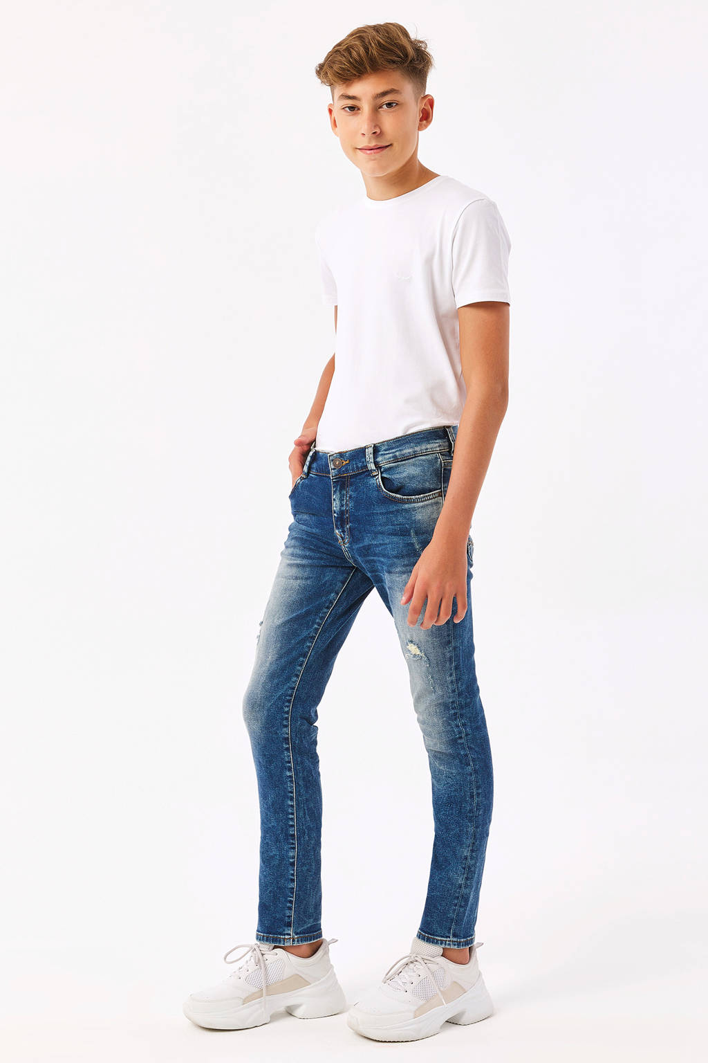 LTB slim fit jeans New Cooper met slijtage stonewashed, Stonewashed