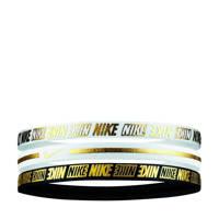 Nike   haarbandjes Metallic (set van 3) wit/goud/zwart, Wit/Zwart/Goud