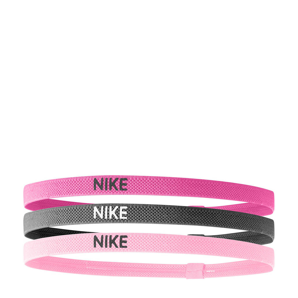 Nike   haarbandjes (set van 3) fuchsia/grijs/roze, Fuchsia/grijs/roze