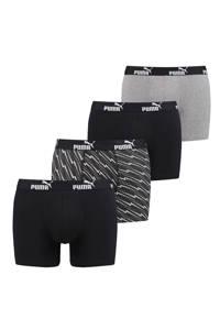 Puma boxershort (set van 4), Zwart/grijs