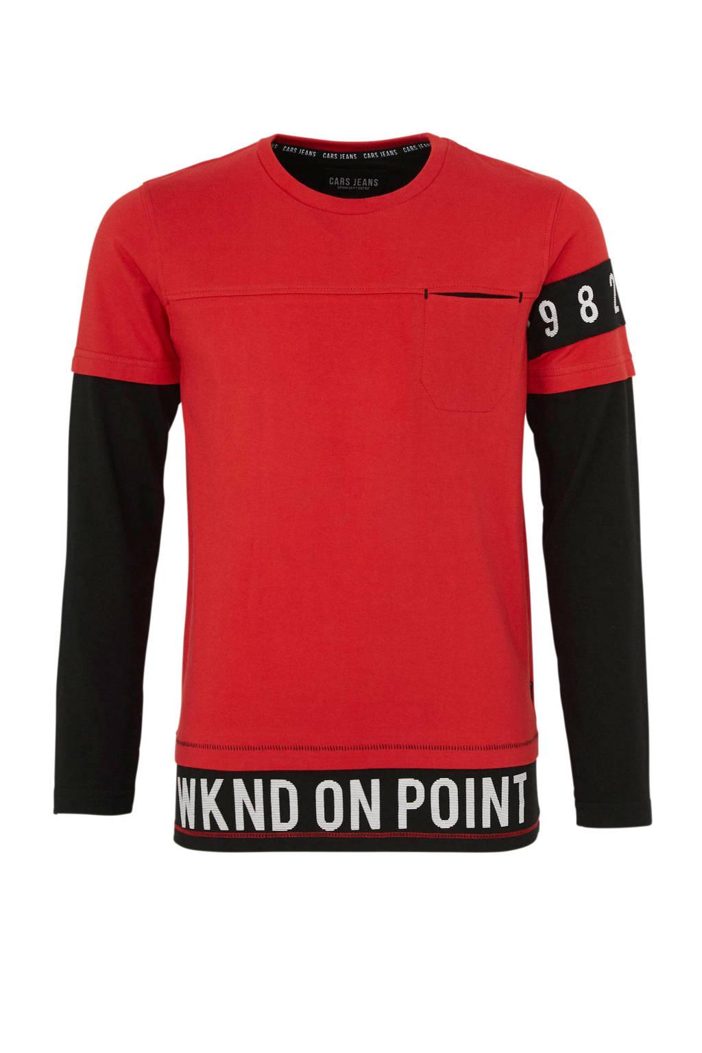 Cars sweater Figni met tekst rood, Rood/zwart