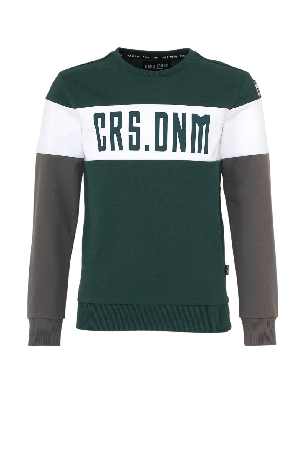 Cars sweater Sines met tekst groen, Groen/wit/grijs