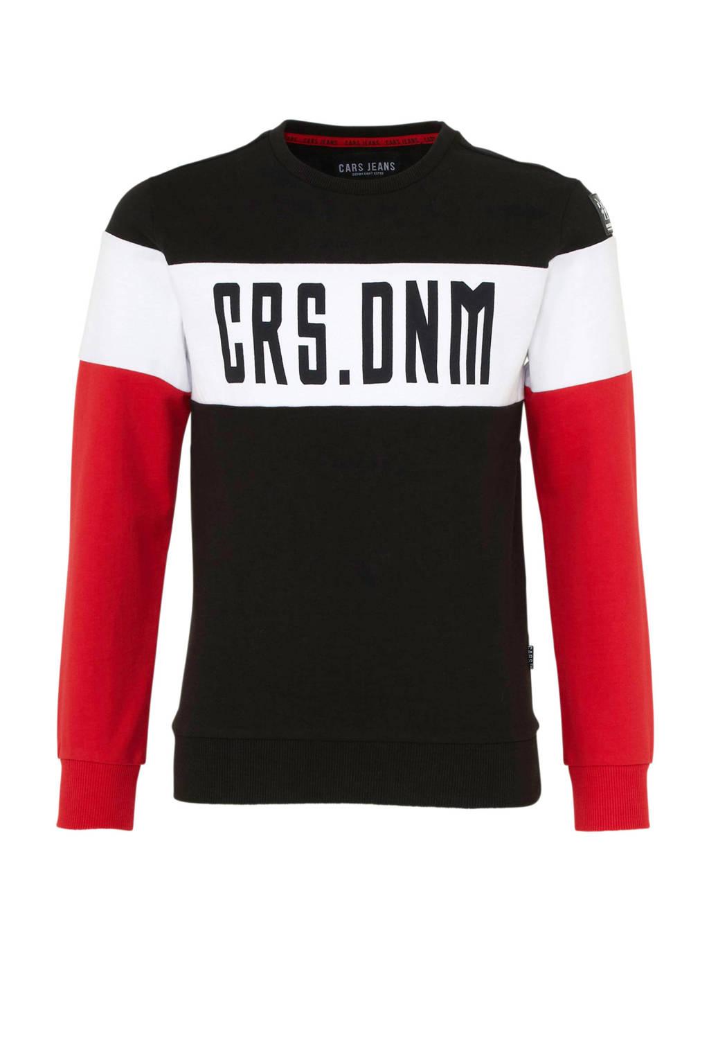 Cars sweater Sines met tekst zwart, Zwart/wit/rood