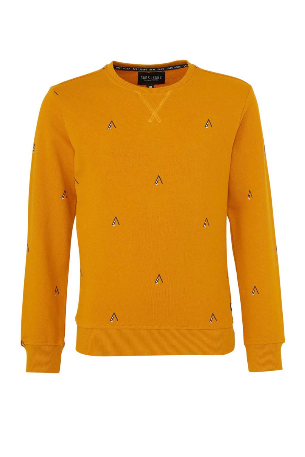 Cars sweater Cento met all over print okergeel, Okergeel