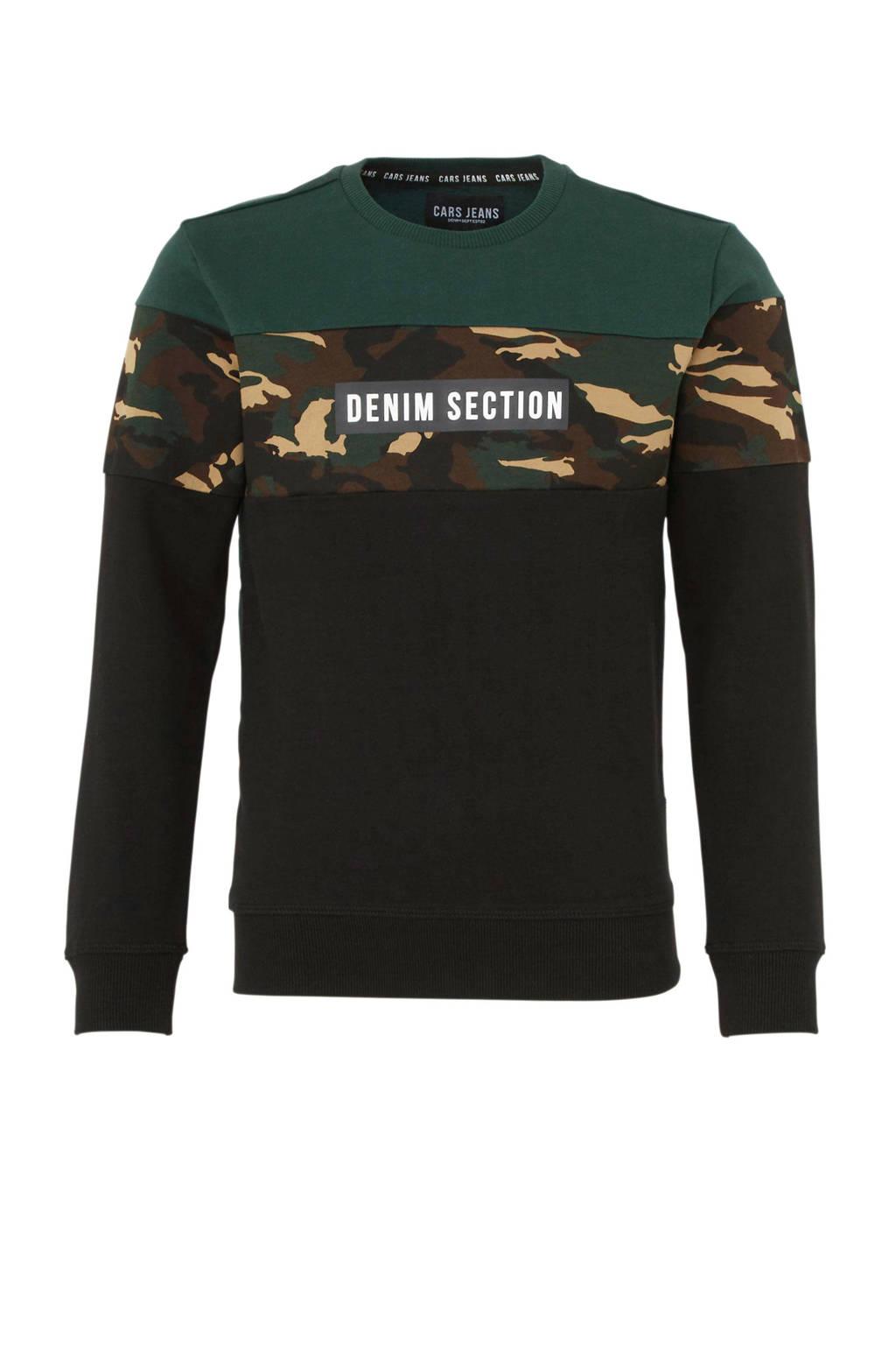 Cars sweater Lusoy met tekst groen, Groen/zwart