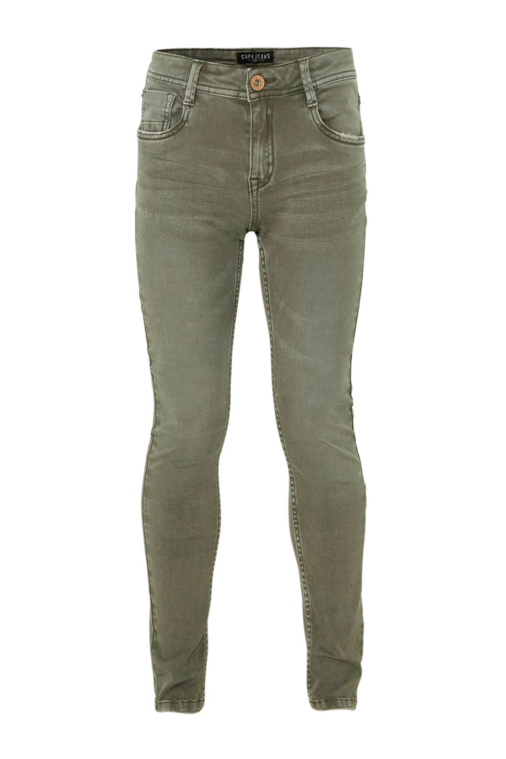 Cars slim fit broek Duke groen, Groen
