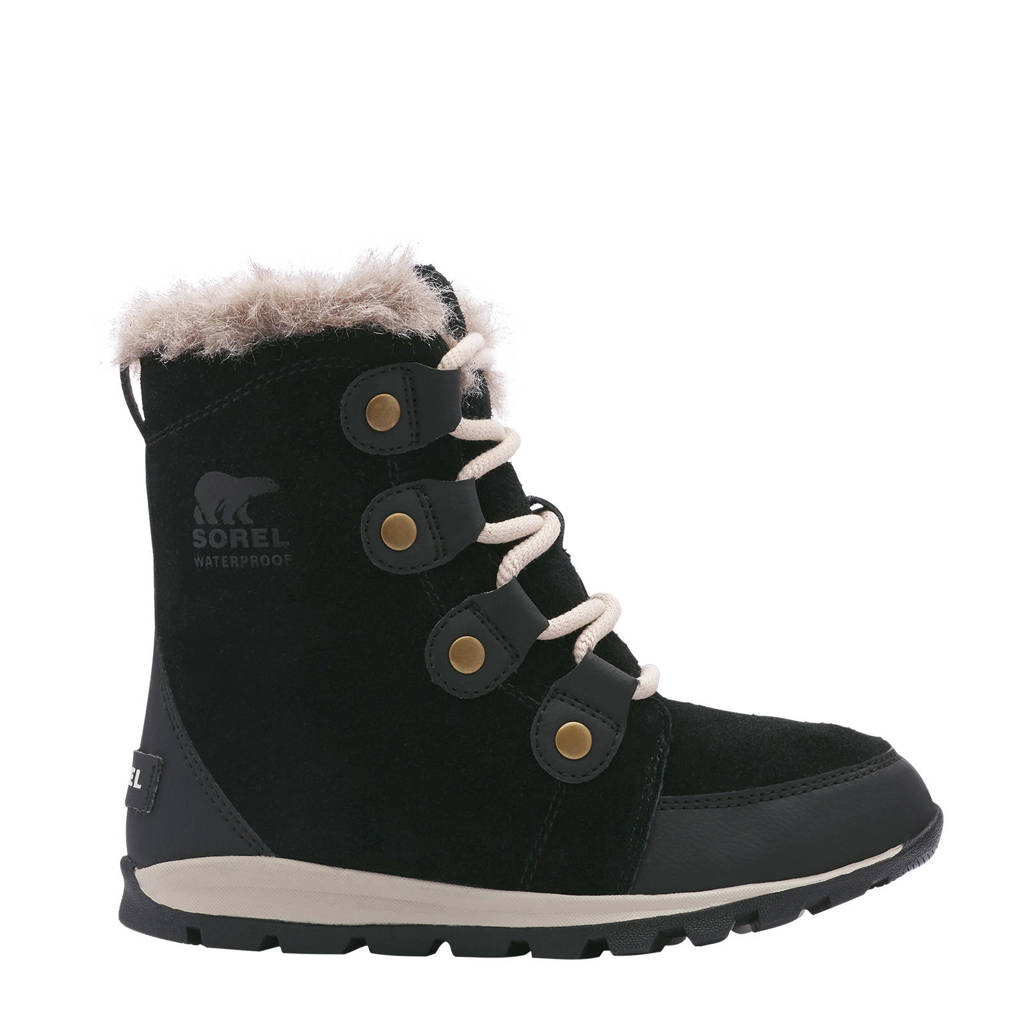 Sorel Youth Whitney Short Lace  Youth Whitney Short Lace snowboot zwart/lichtbruin kids, Zwart/lichtbruin