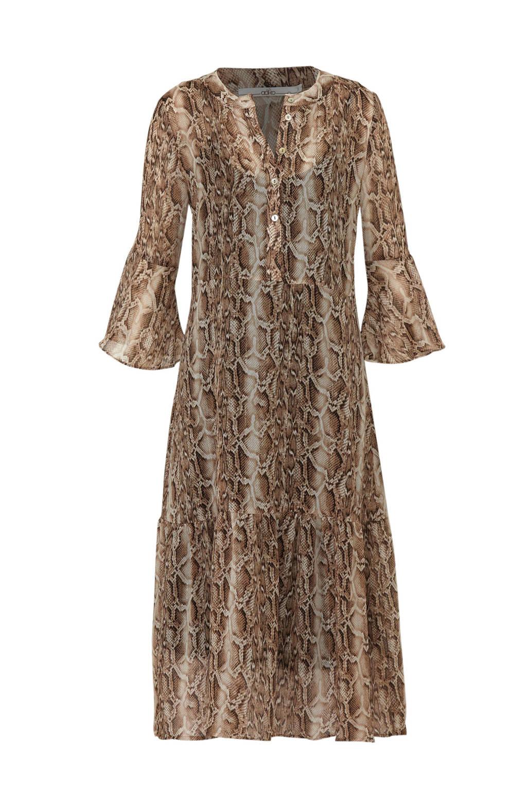 Aaiko jurk met slangenprint, Bruin/ecru