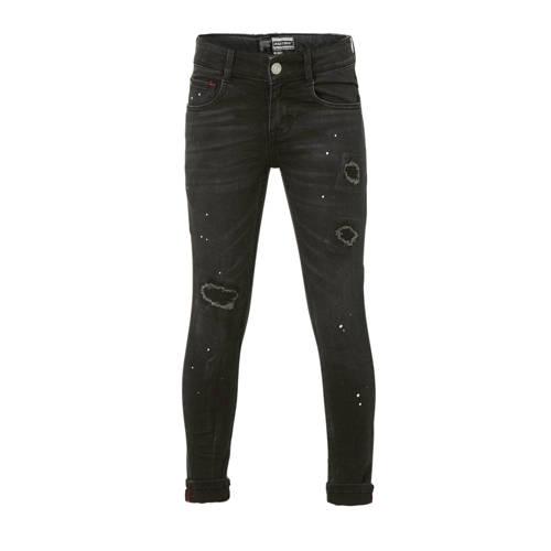 Raizzed skinny jeans Tokyo met slijtage zwart verw