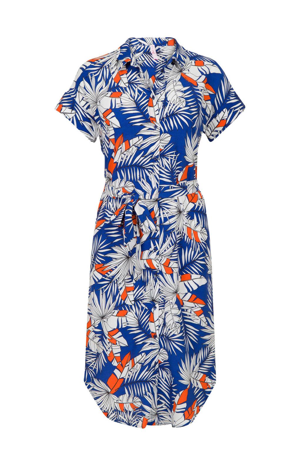 Miss Etam Regulier gebloemde jurk blauw, Blauw/wit