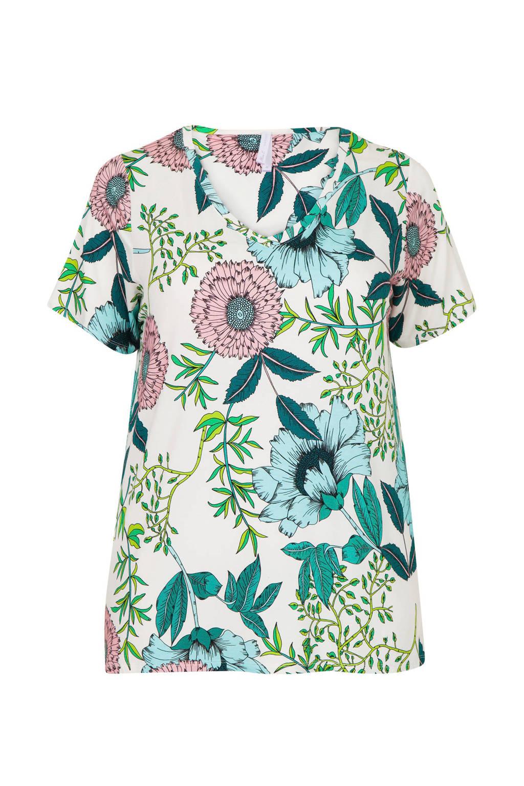 Miss Etam Plus gebloemd T-shirt gebroken wit/groen