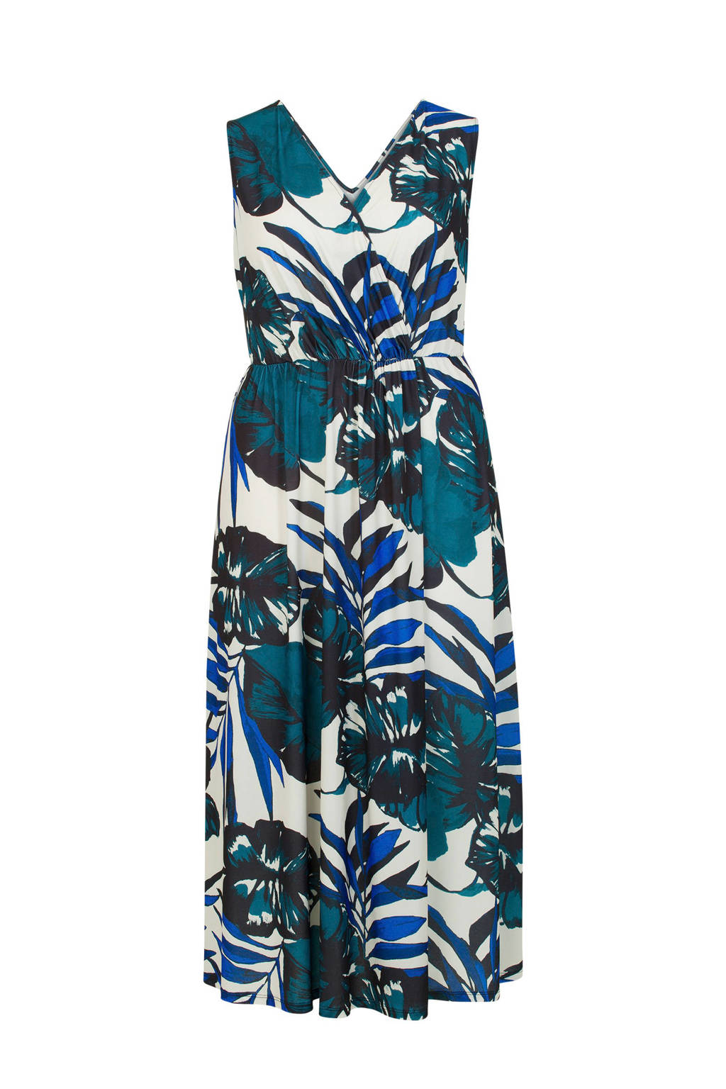 Miss Etam Plus gebloemde jurk blauw, Blauw