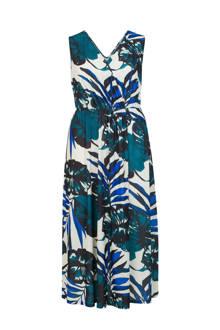 Plus gebloemde jurk blauw
