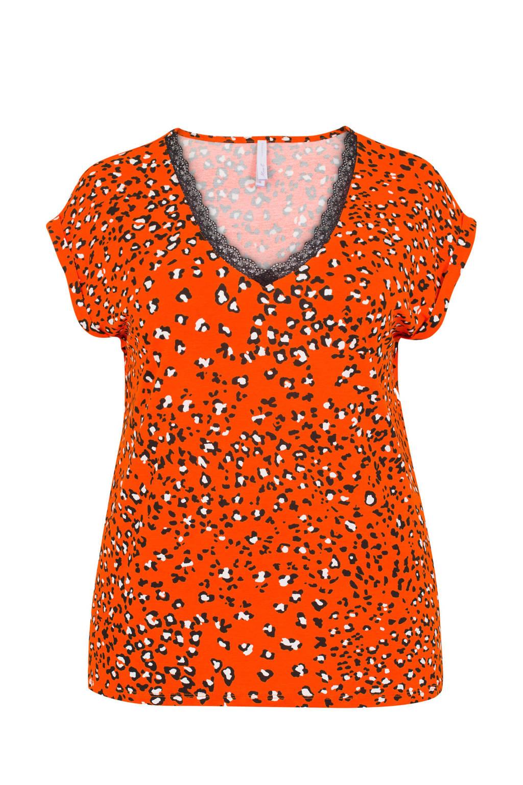Miss Etam Plus T-shirt met panterprint en kant detail, Oranje