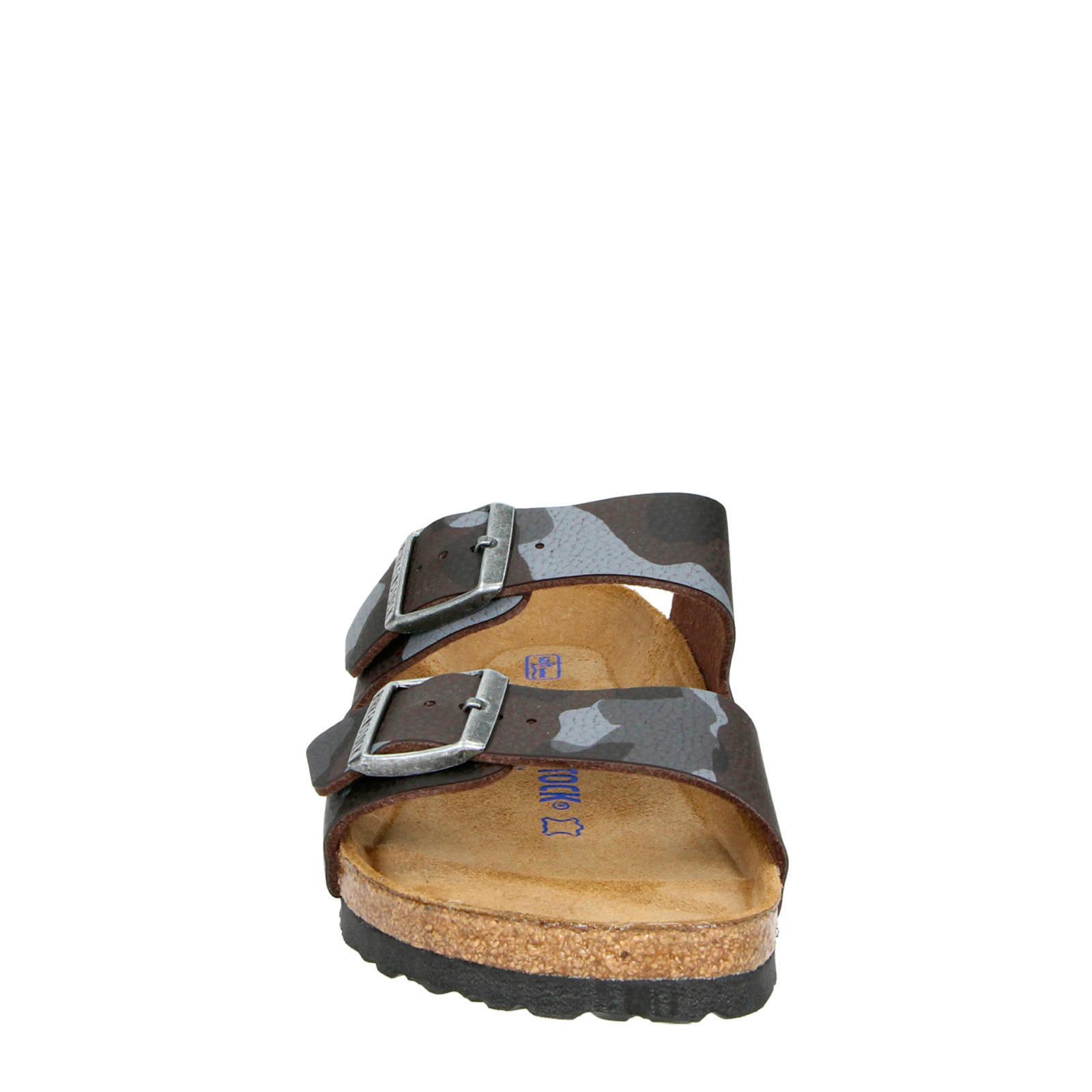 Birkenstock Arizona leren slippers camouflage | wehkamp